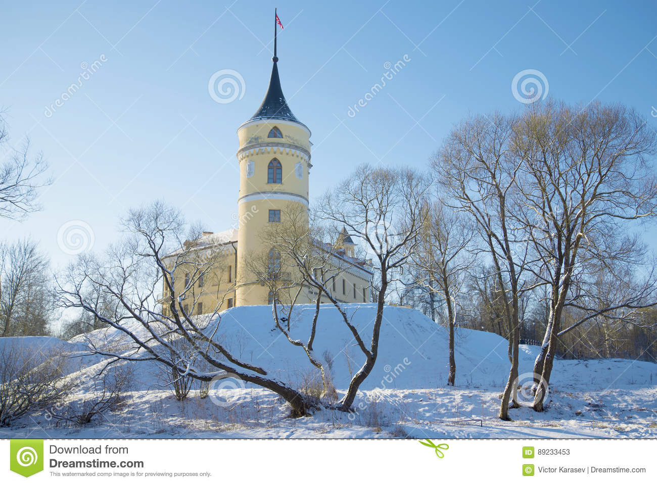 Sunny February day at the old castle Marienthal. Vicinities of St. Petersburg, Russia