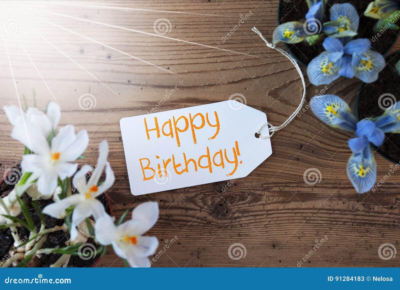 Sunny Flowers etikett, smsar lycklig födelsedag
