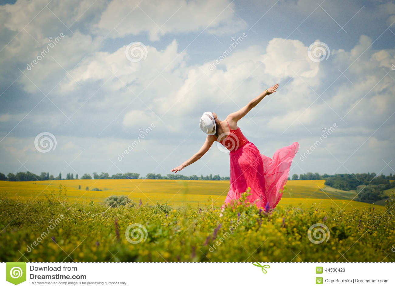 Sunny freedom: image of beautiful blond young woman in pink dress having fun dancing on green summer outdoors blue sky copy space