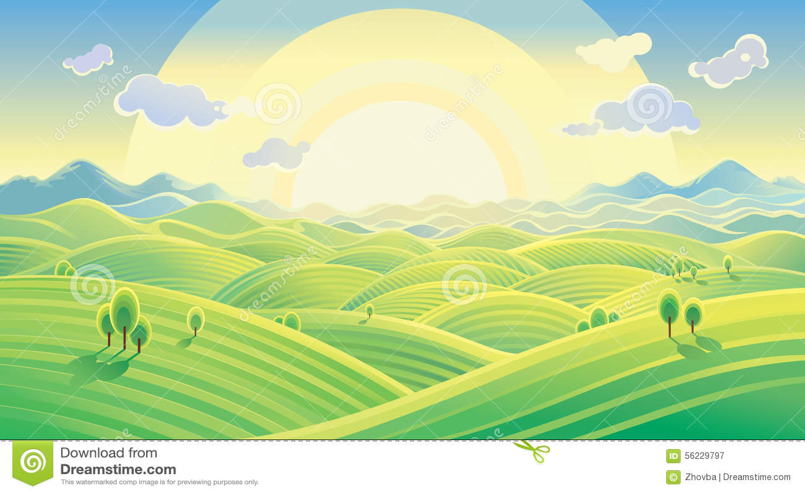 Sunny hilly landscape stock vector image 56229797 for Sunny landscape designs