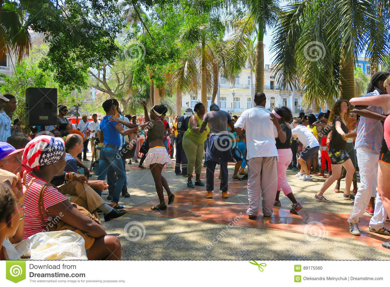 Sunny and hot cuban salsa in the square of Havana