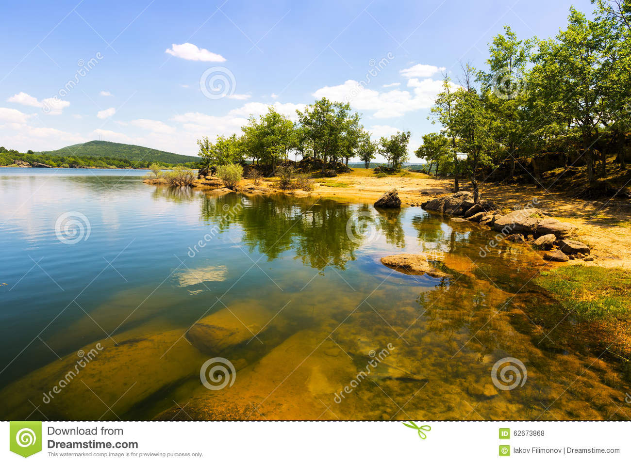 Sunny landscape with lake stock photo image 62673868 for Sunny landscape designs