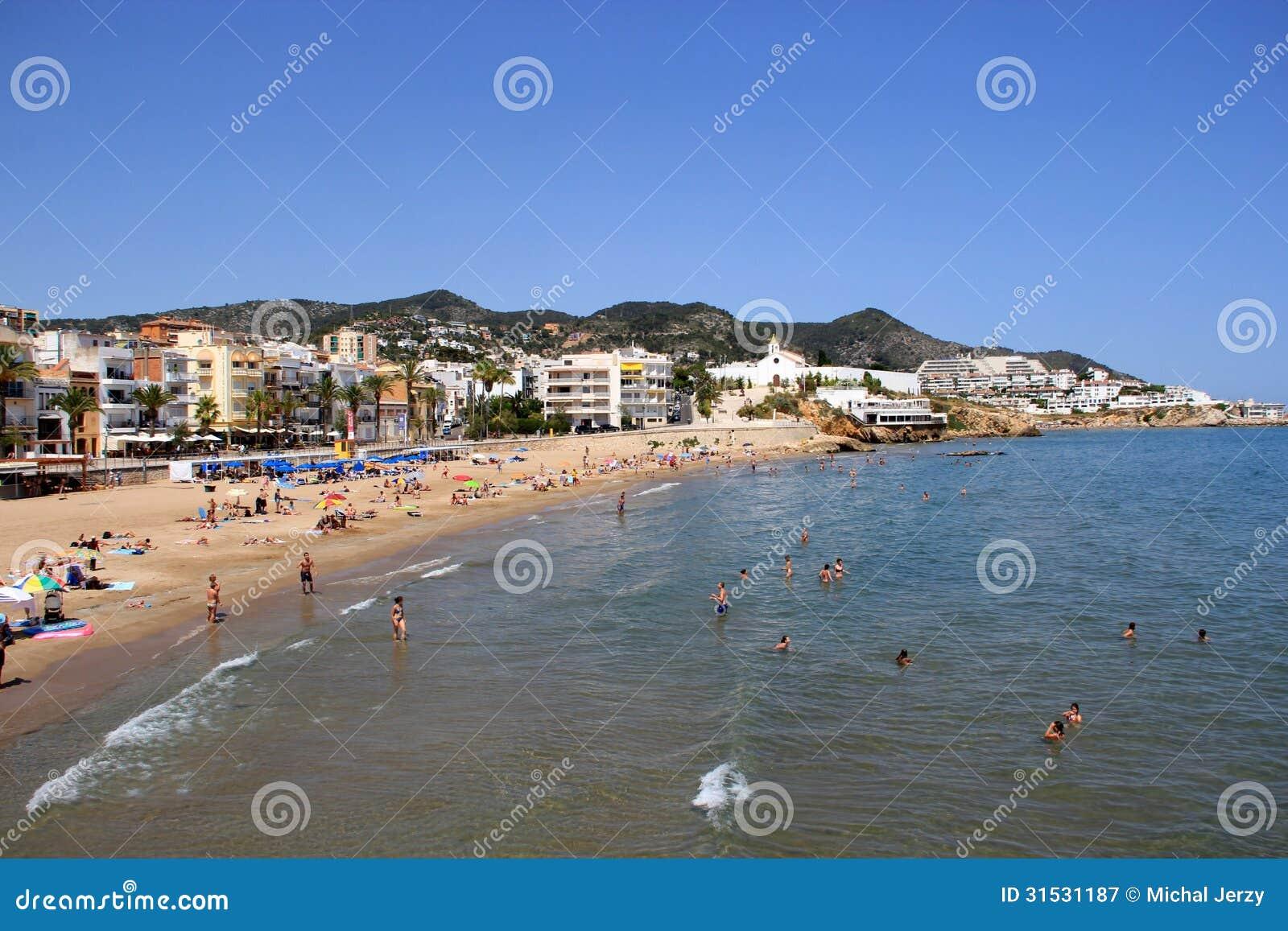 Sunny Mediterranean Beach On A Spanish Coast Editorial ...