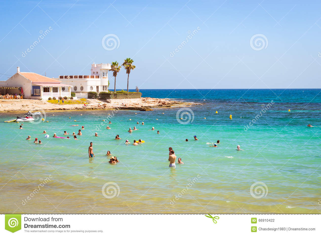 Astonishing Sunny Mediterranean Beach Tourists Relax On Wave Cala Del Pala Largest Home Design Picture Inspirations Pitcheantrous