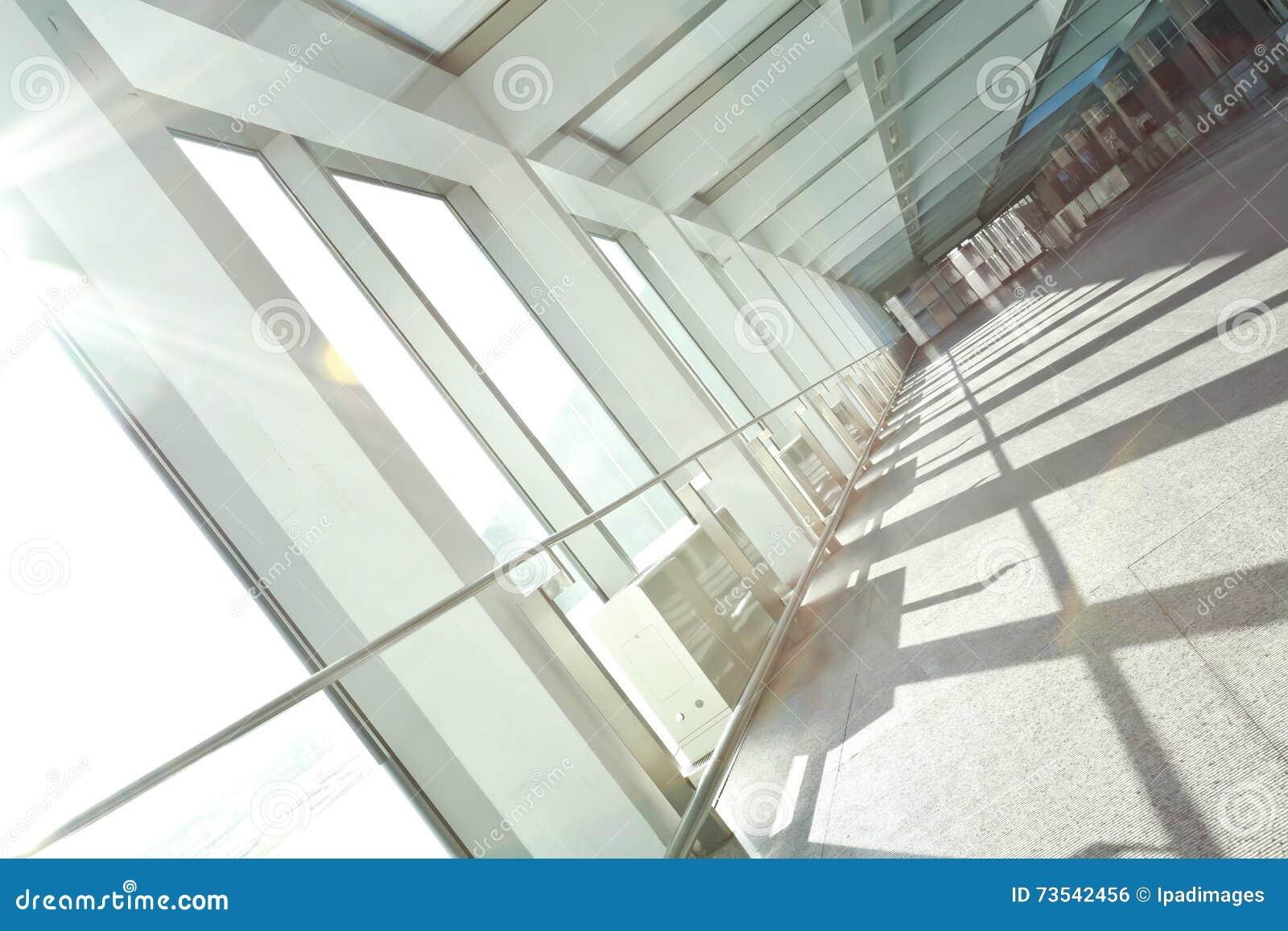 Glass office windows - Sunny On Modern Glass Office Windows Building Interior Corridor Stock Photo