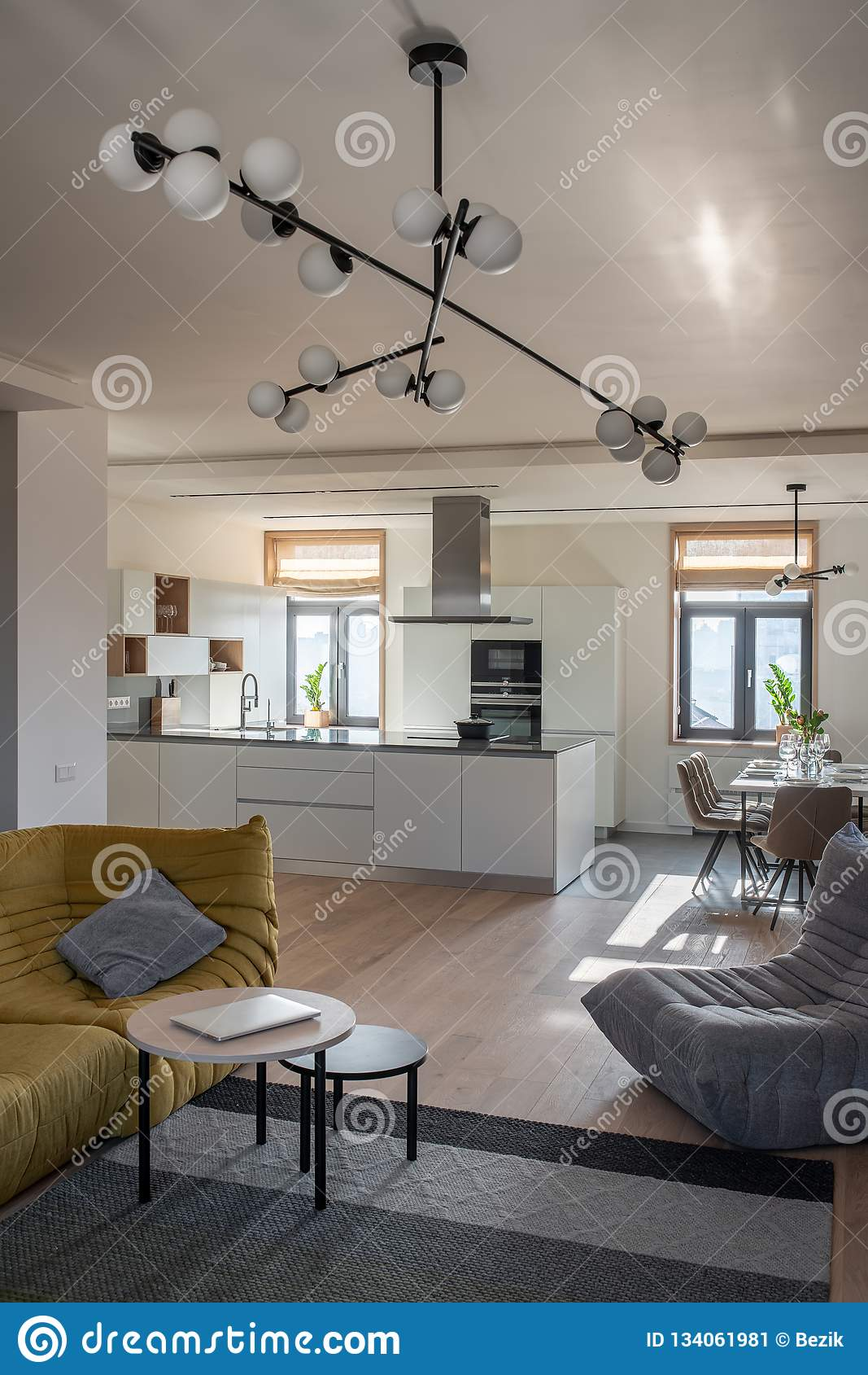Sunny Modern Interior With White Walls And Kitchen Zone Stock Image Image Of Daylight Comfortable 134061981