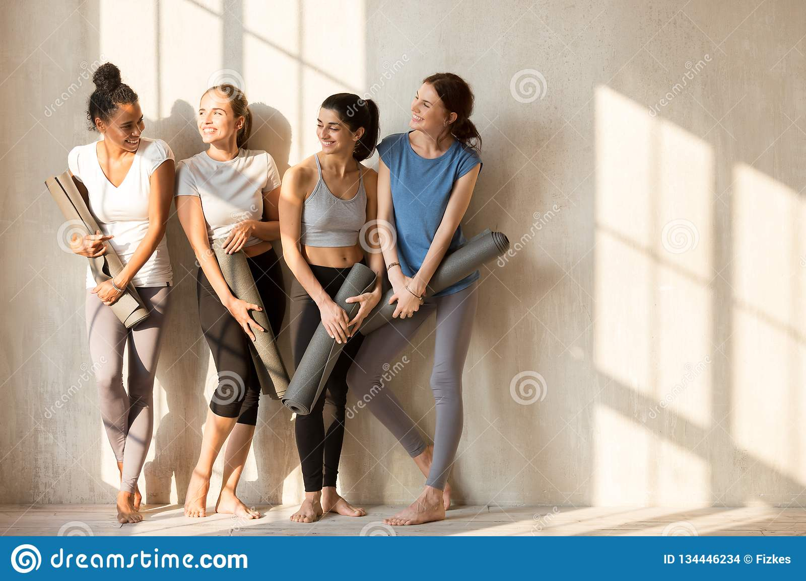 On A Sunny Morning Girls Gathered At Gym For Workout Stock Photo