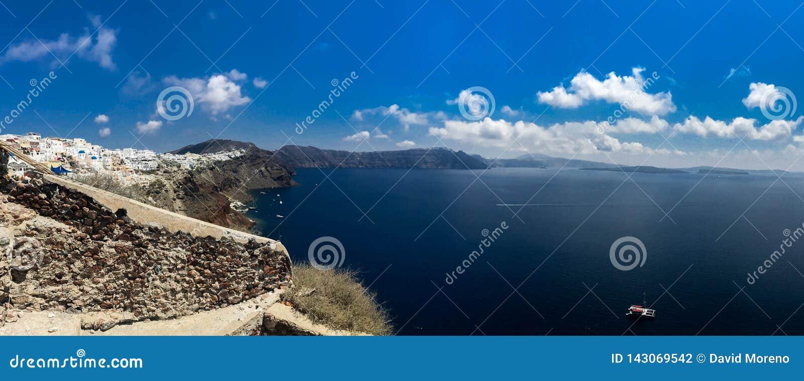Sunny morning panorama of Santorini island. Colorful spring view offamous Greek resort Fira, Greece, Europe