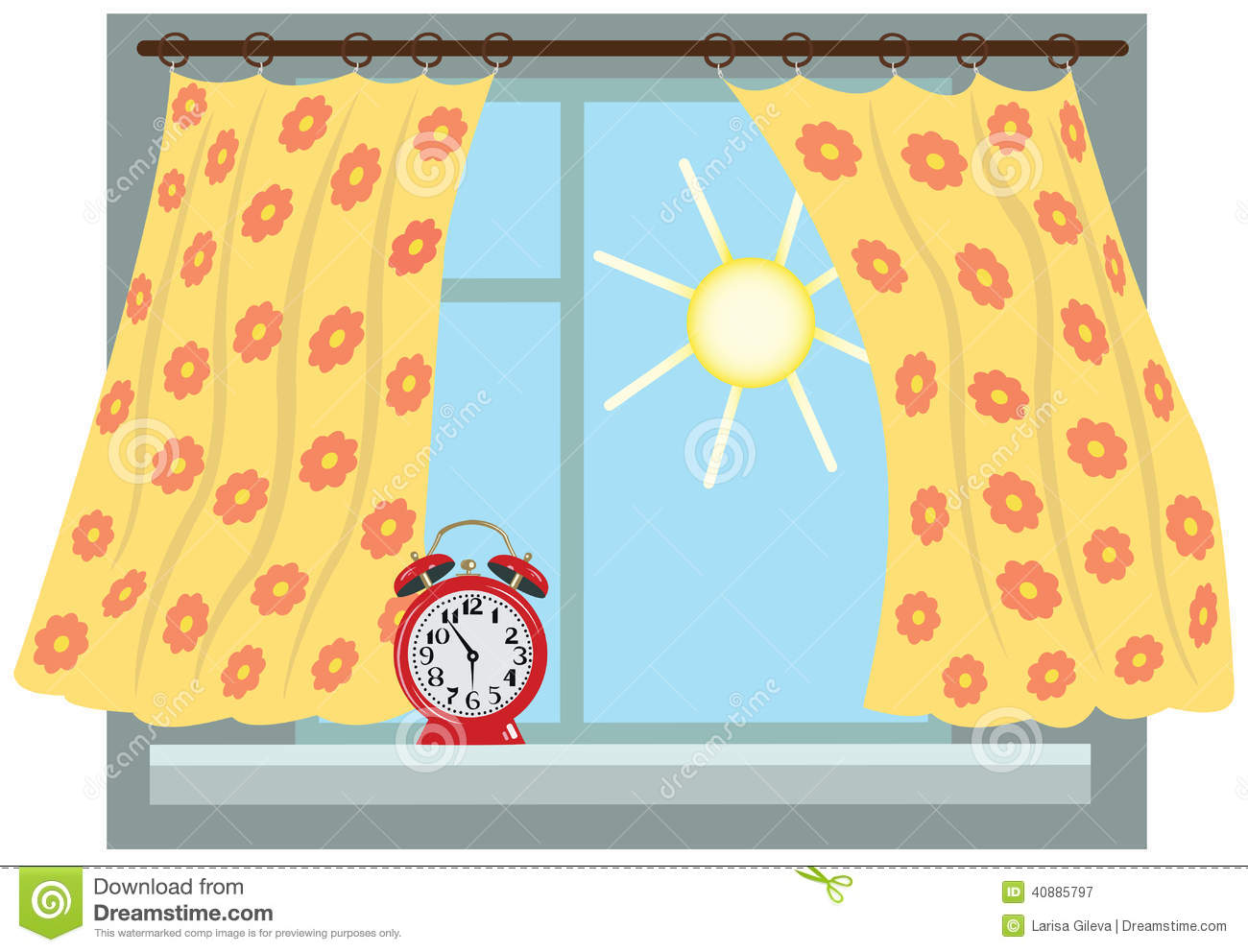 Window with curtains on the window sill is an alarm clock, a sunny ...