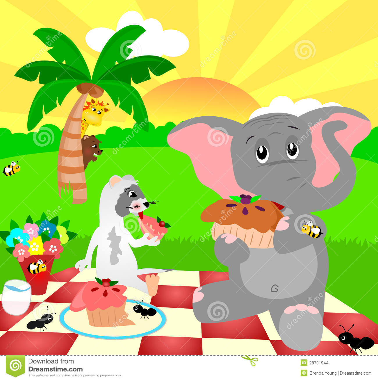 Illustration of an elephant and ferret having a picnic on a sunny day.
