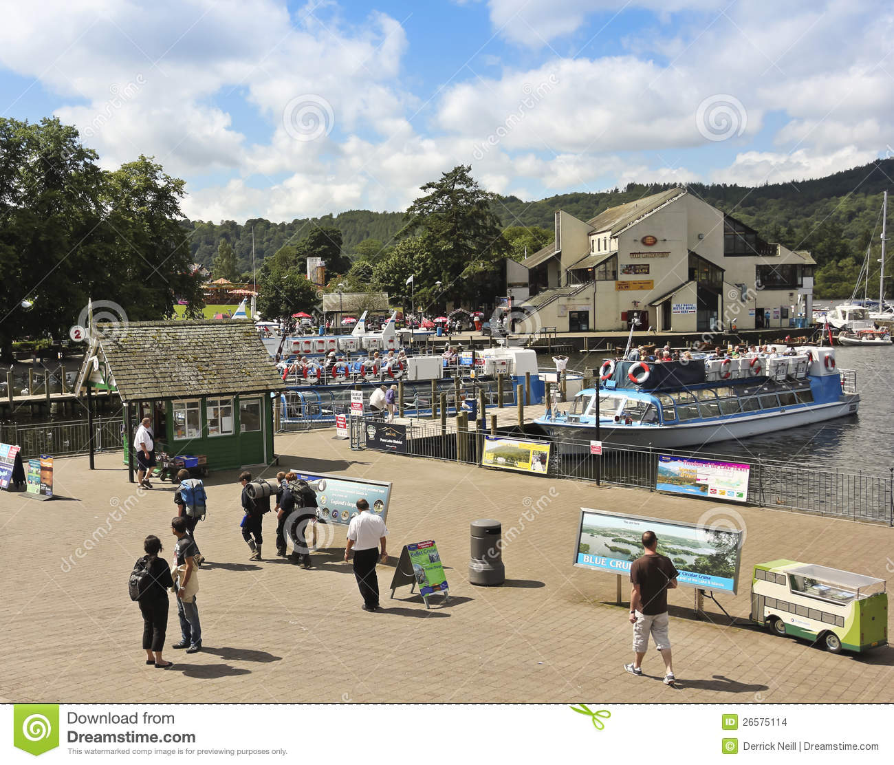 A Sunny Scene In Bowness-on-Windermere Editorial Stock