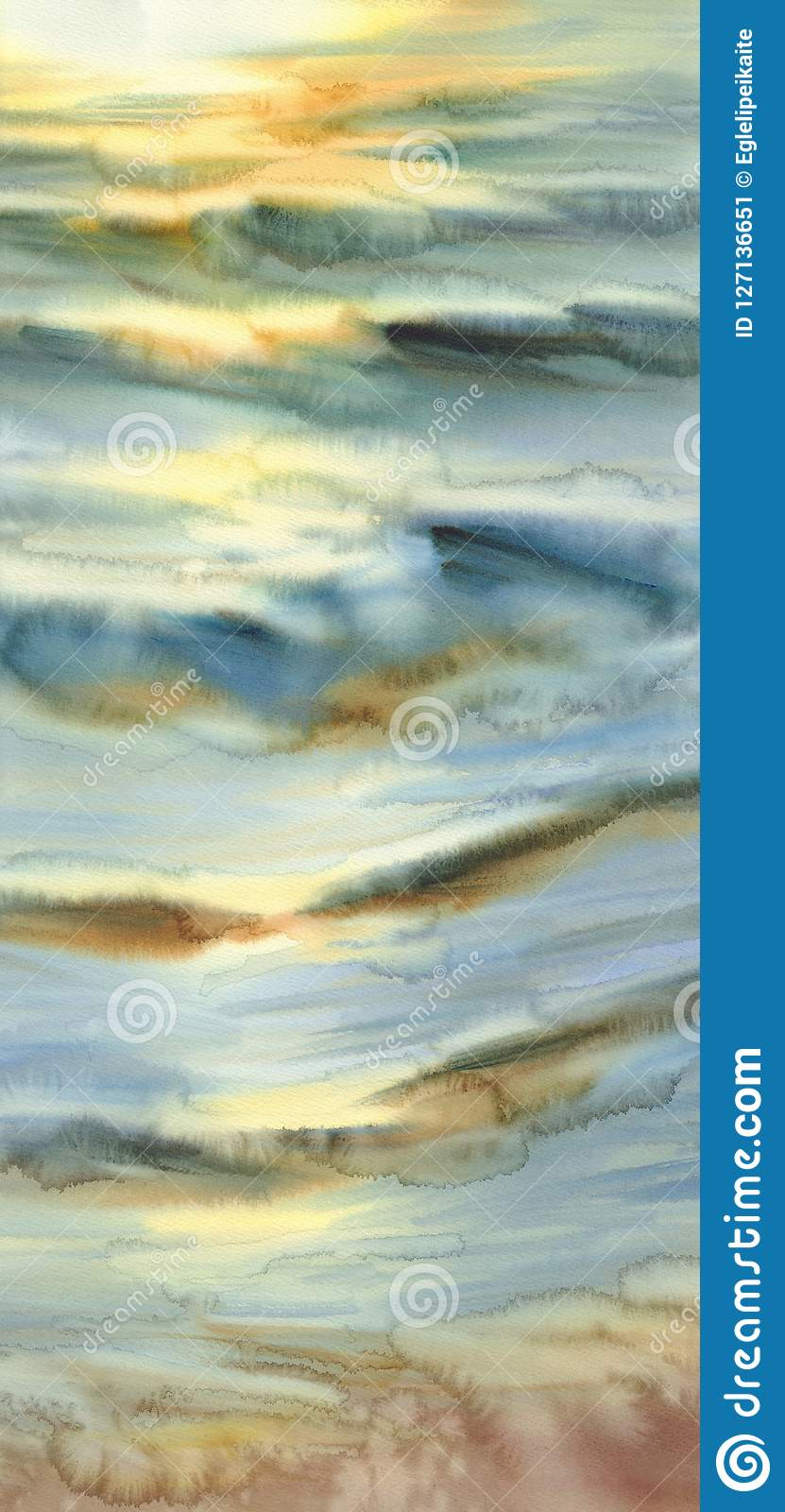 Sunny sea with evening sun reflections watercolor background