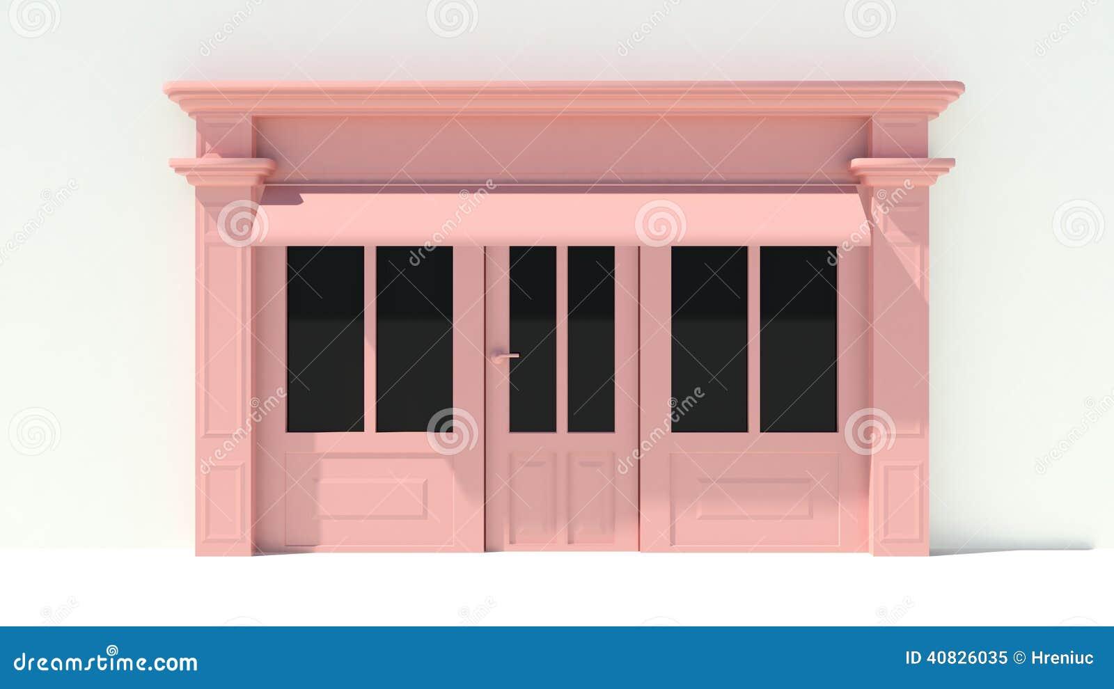 sunny shopfront avec de grandes fen tres blanches et fa ade rose de magasin avec des tentes. Black Bedroom Furniture Sets. Home Design Ideas
