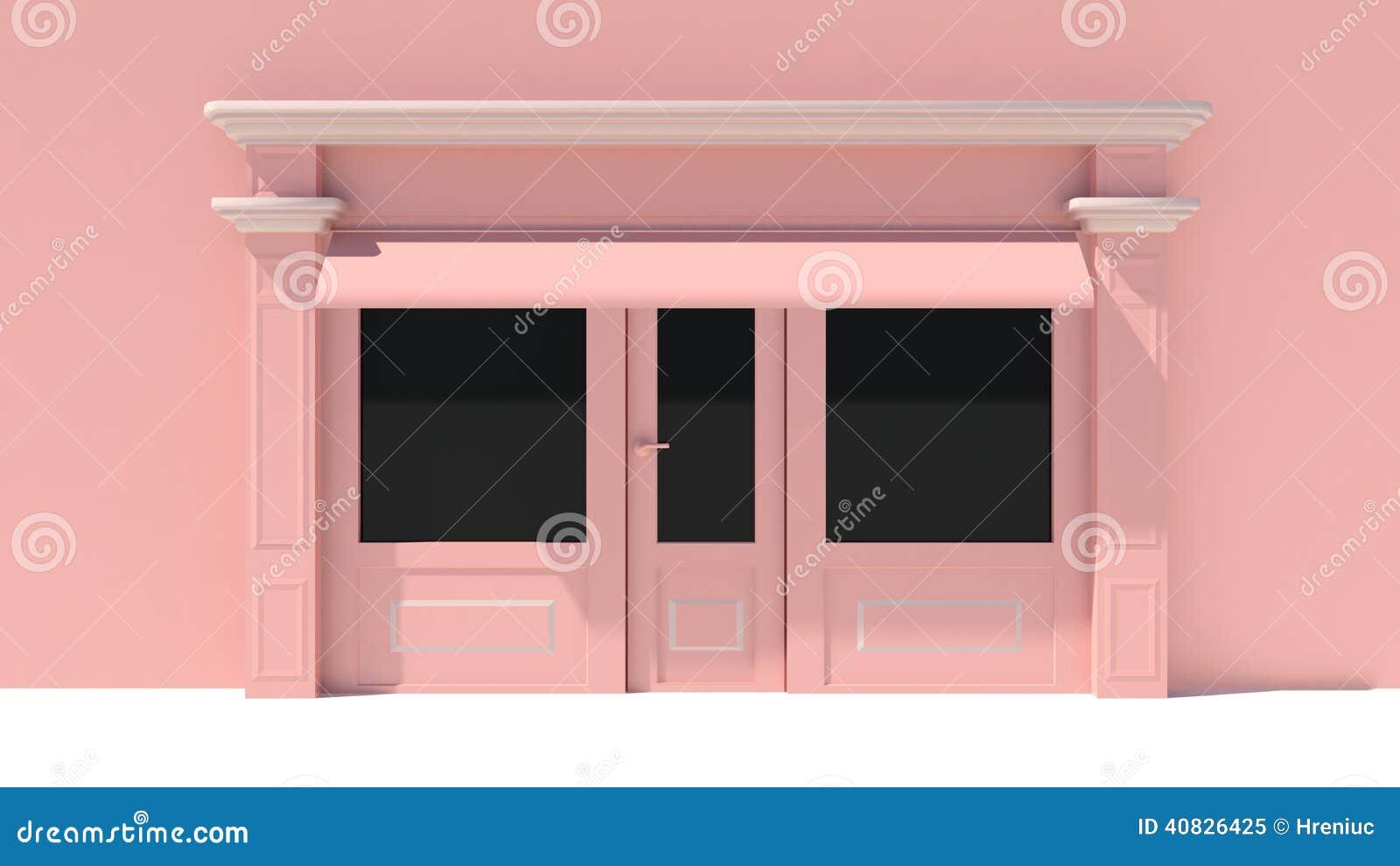 #85A526  as grandes janelas brancas e fachada cor de rosa da loja com toldos 1512 Toldos Para Janelas De Madeira