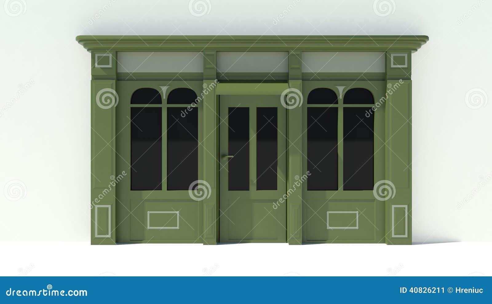 #85A526  com as grandes janelas brancas e fachada verde da loja com toldos 3D 1512 Toldos Para Janelas De Madeira
