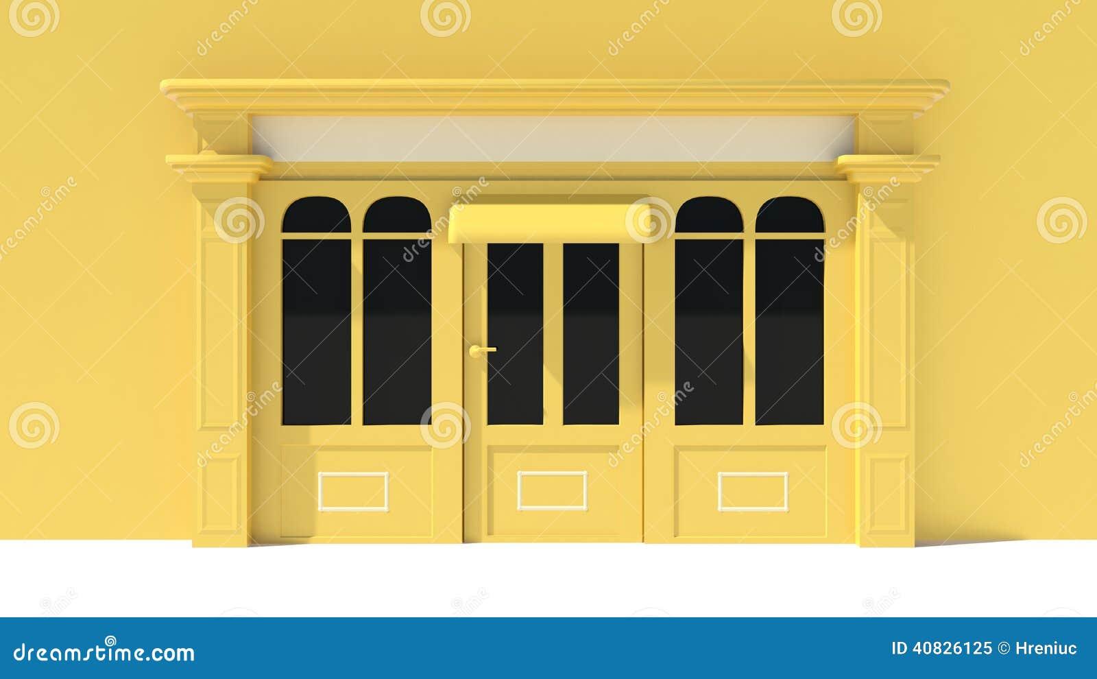Sunny shopfront con le grandi finestre bianche e facciata for Finestre bianche