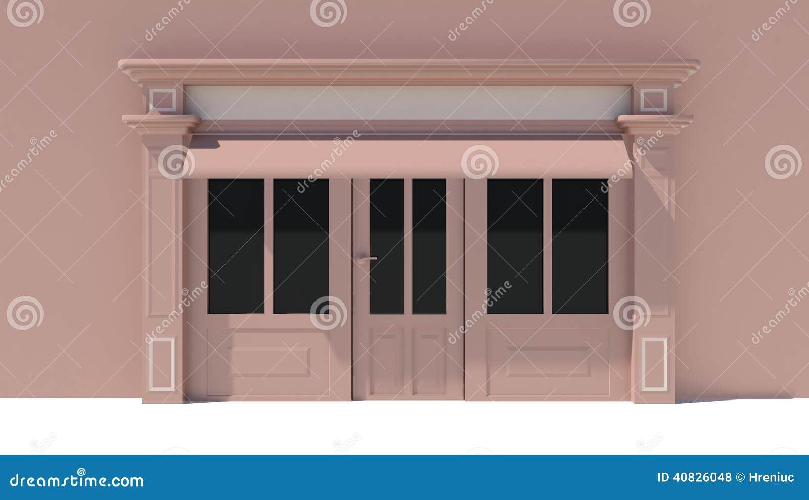 Tende Marroni E Beige.Sunny Shopfront Con Le Grandi Finestre Bianche E Facciata