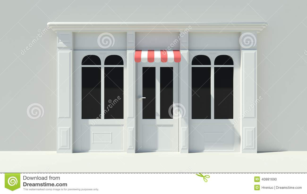 Sunny Shopfront With Large Windows White Store Facade With