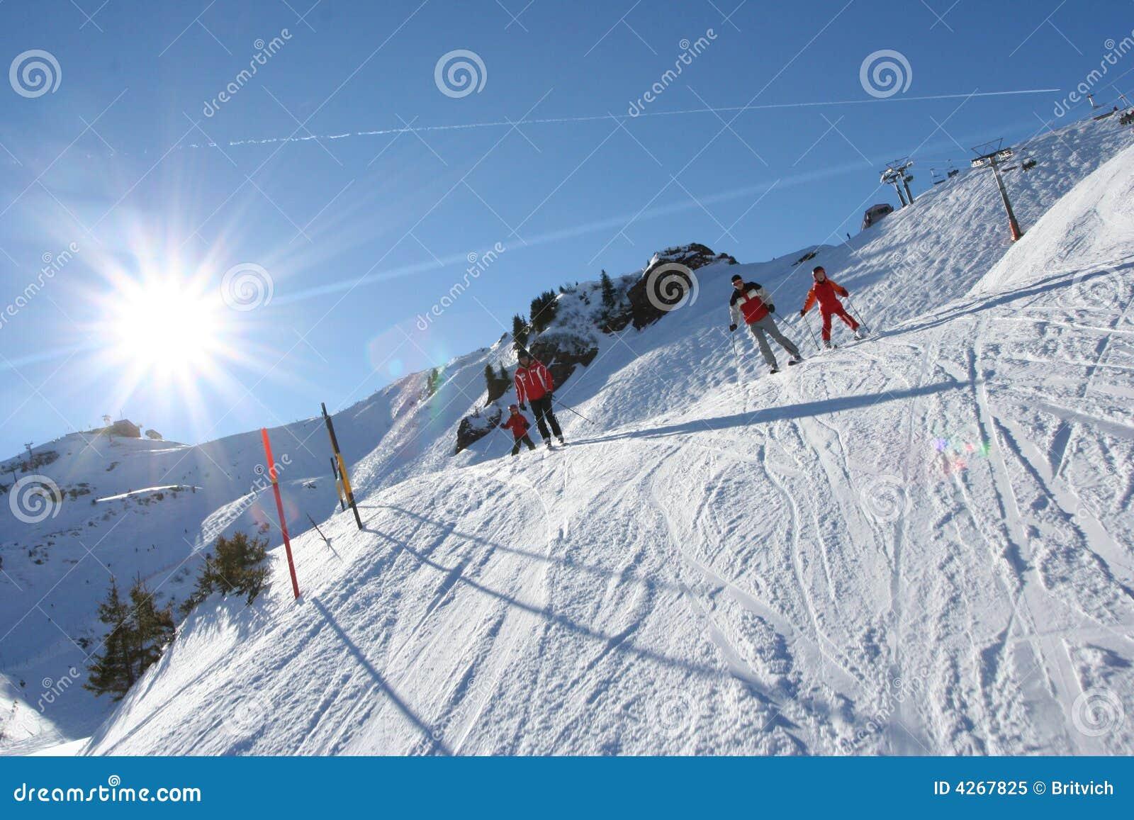 sunny skiing in alps royalty free stock photo