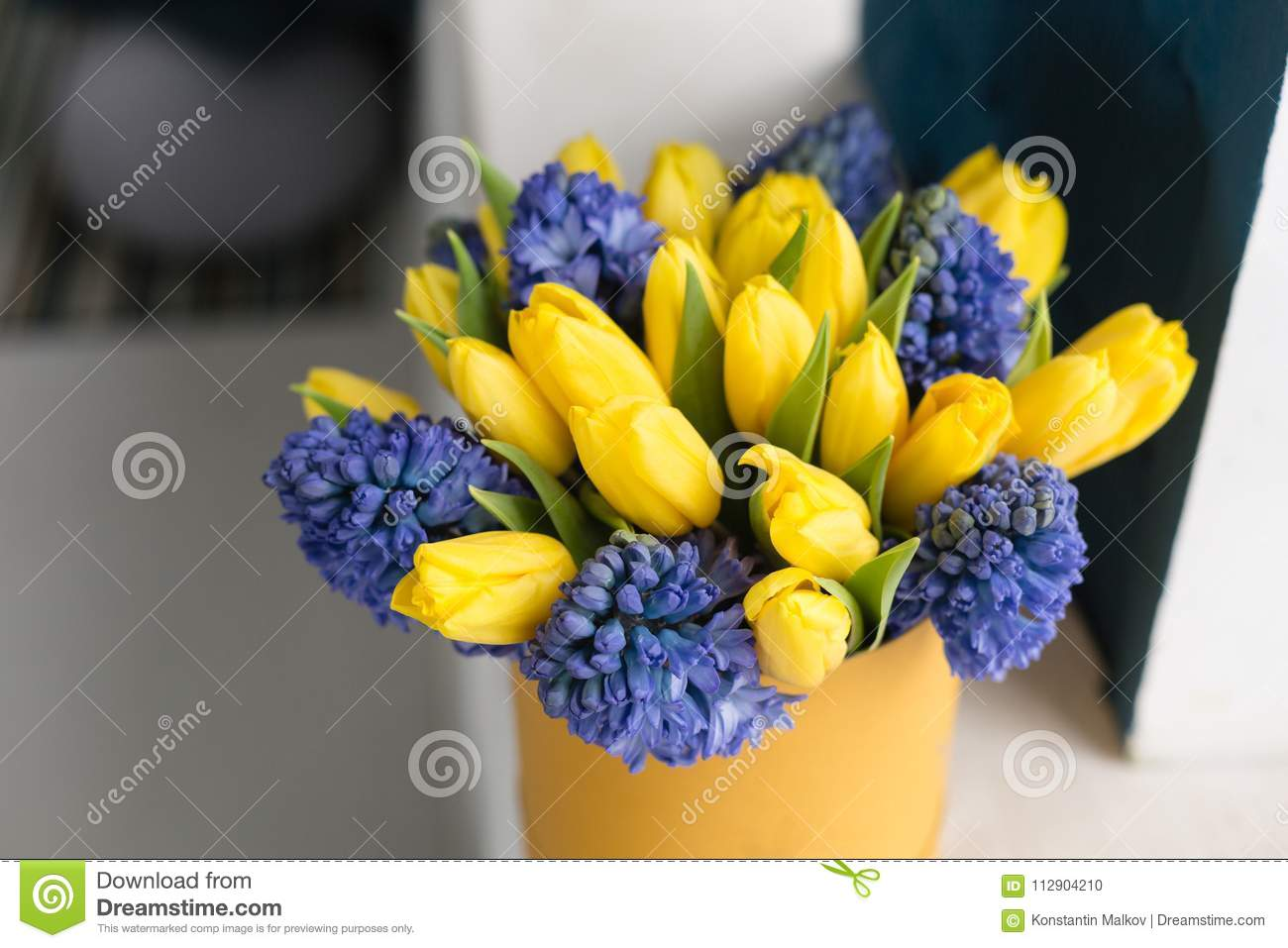 Sunny spring morning bunch of blue hyacinths and yellow tulips on bunch of blue hyacinths and yellow tulips on white table present izmirmasajfo