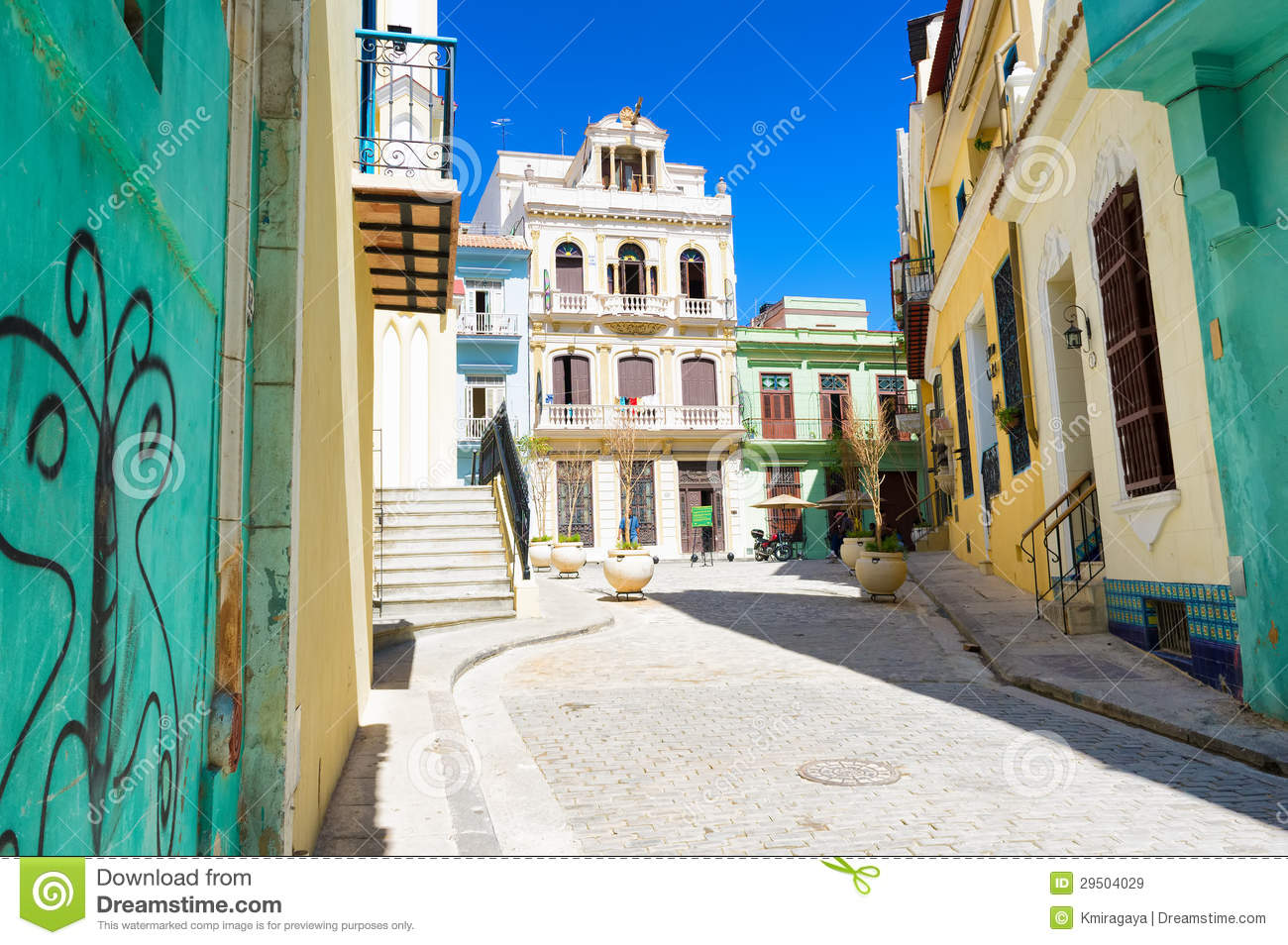 Sunny Street In Old Havana On A Beautiful Day Stock Image Image 29504029