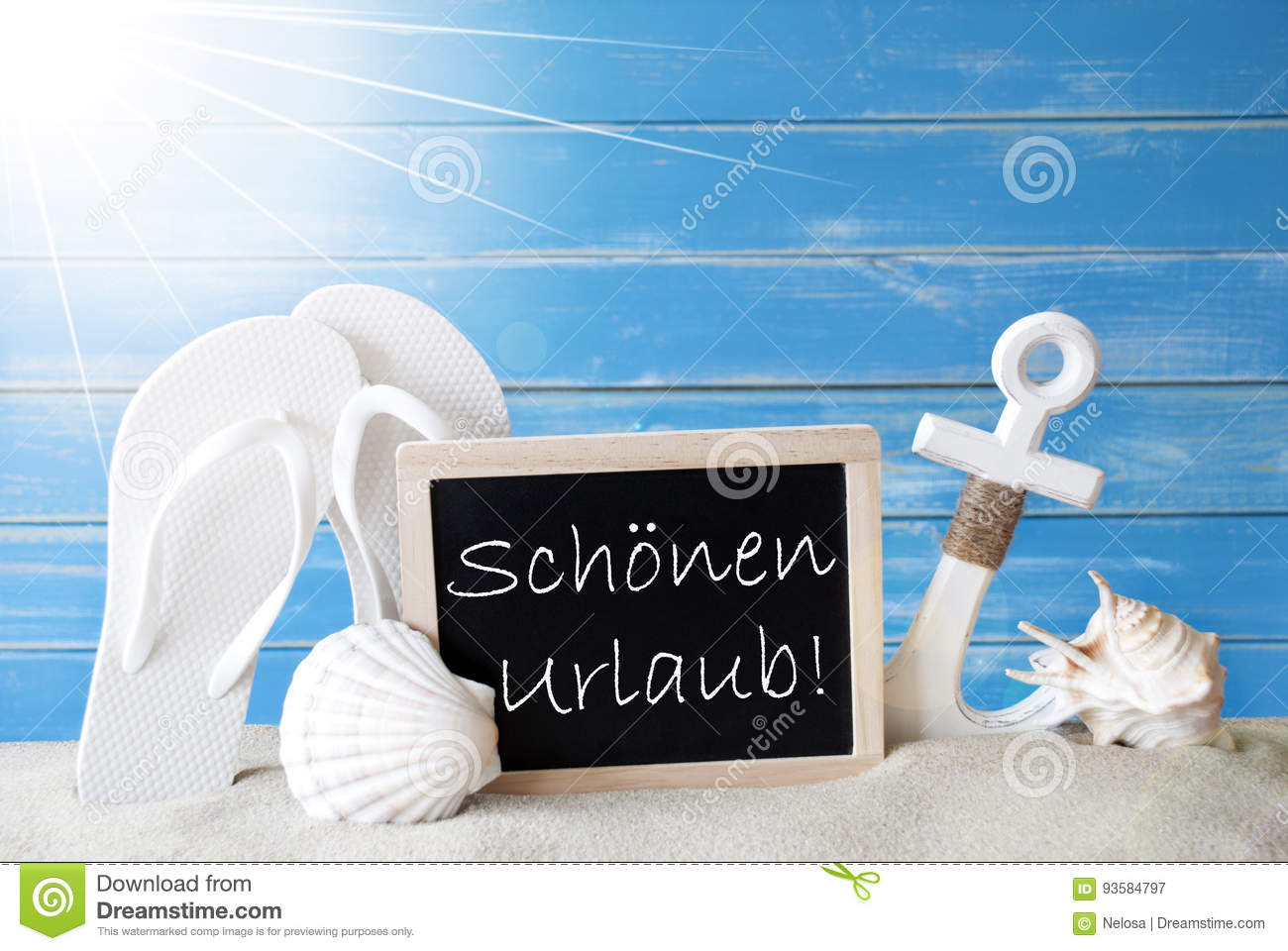 Sunny summer card with schoenen urlaub means happy holidays stock royalty free stock photo m4hsunfo