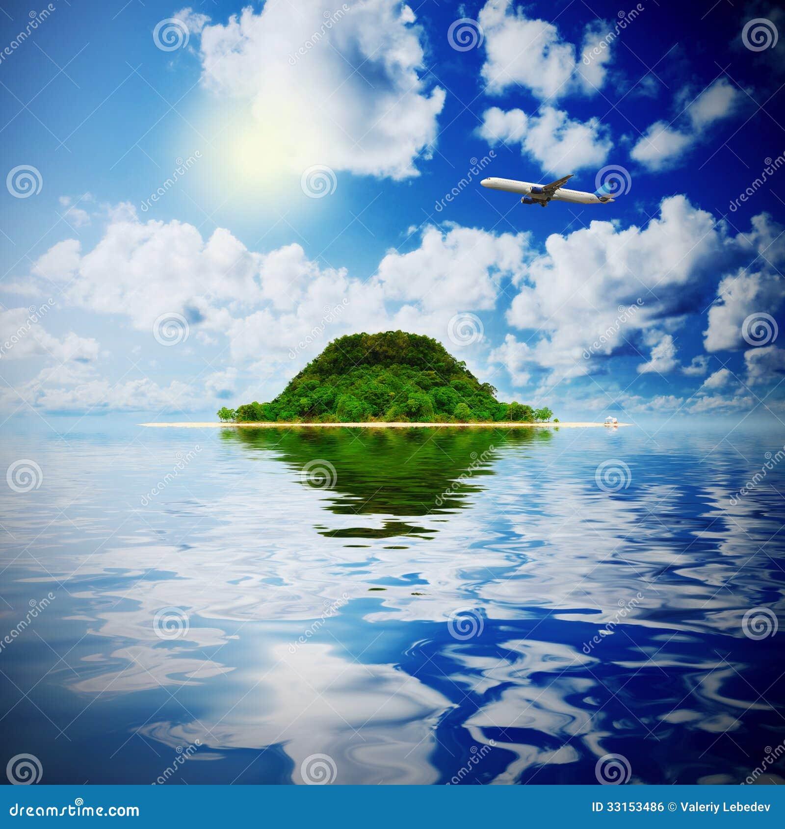 Tropical Island Paradise: Sunny Tropical Beach On The Island Royalty Free Stock