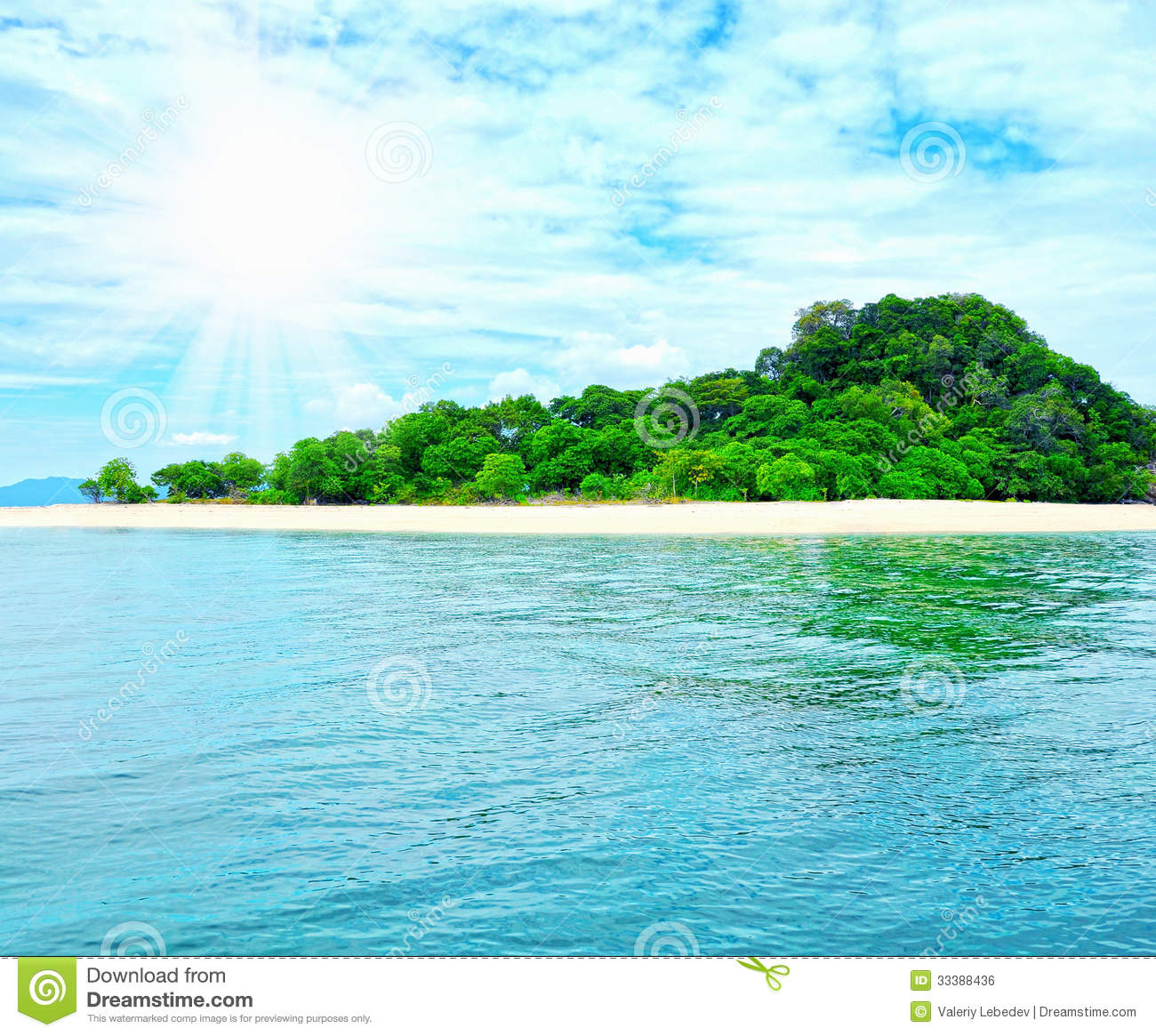 Beach Island: Sunny Tropical Beach On The Island Stock Photo
