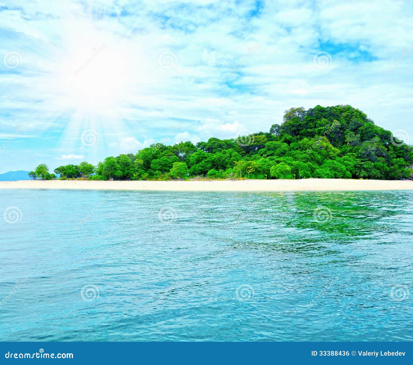 Tropical Island Beaches: Sunny Tropical Beach On The Island Royalty Free Stock