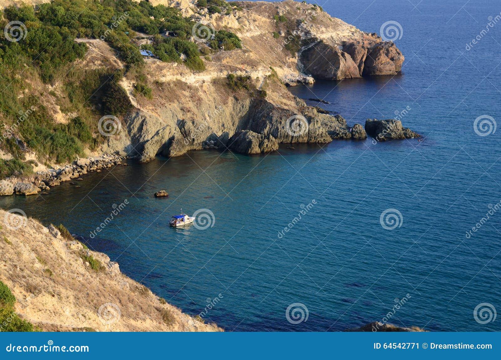 Sunny view of the Black Sea. Crimea.