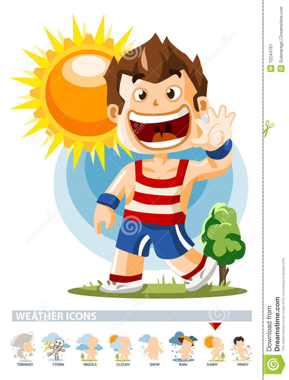 Sunny. Weather Icon with People illustration in Detailed Vector.