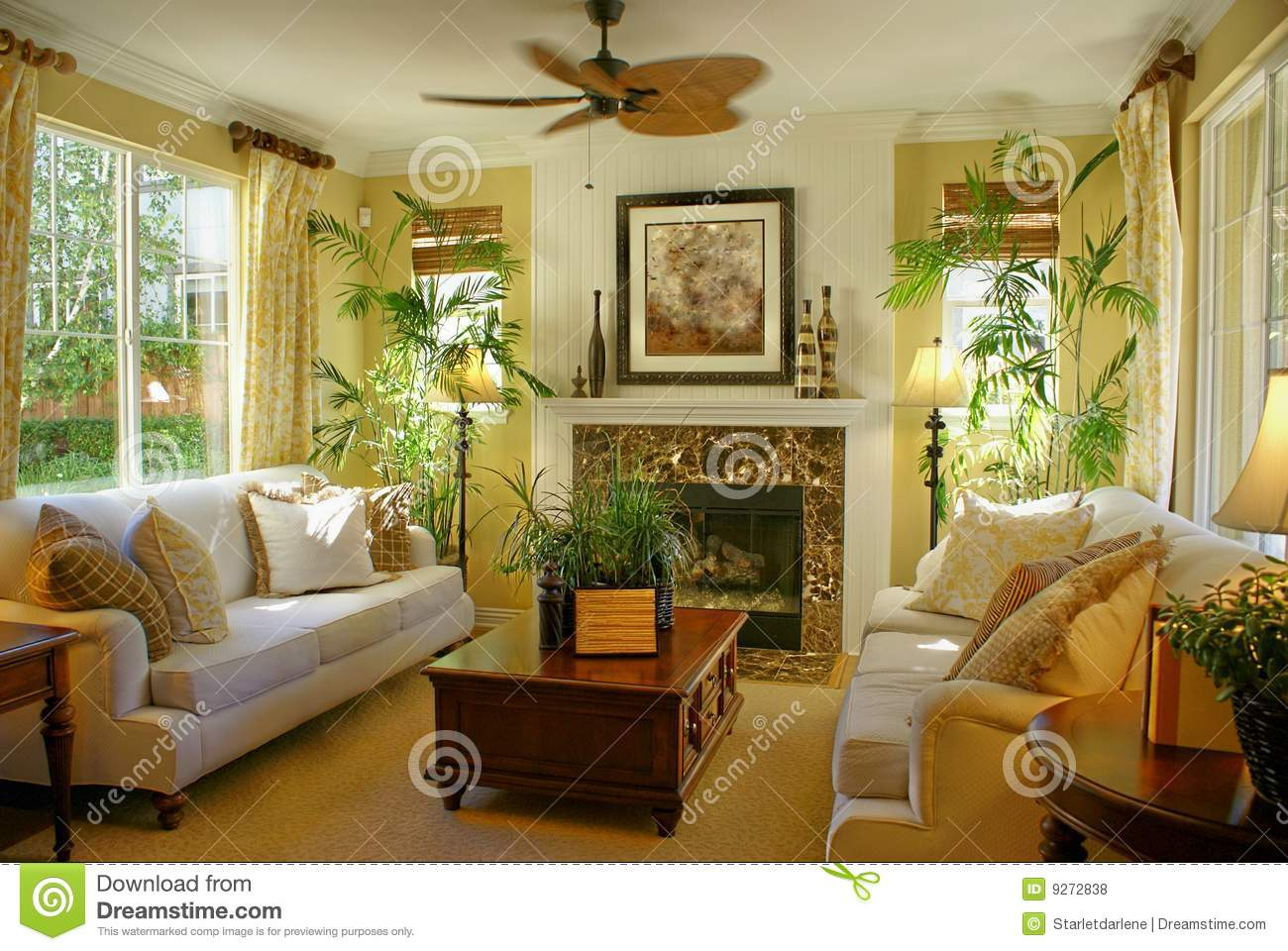 Sunny Yellow Living Room W Fan Stock Photo Image 9272838