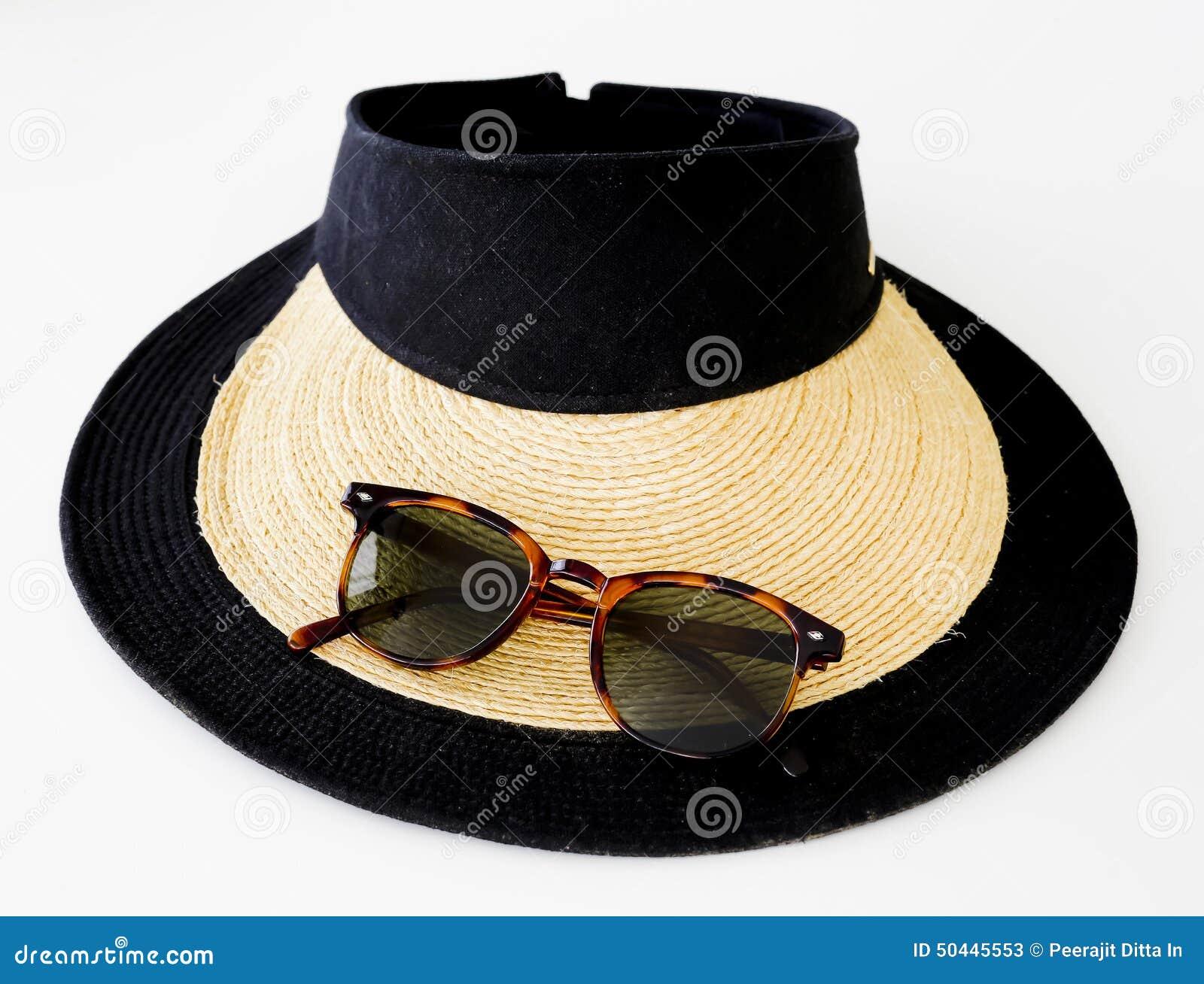 .Sunglasses, Sun Cream And Hat On White Sand Beach Royalty ...