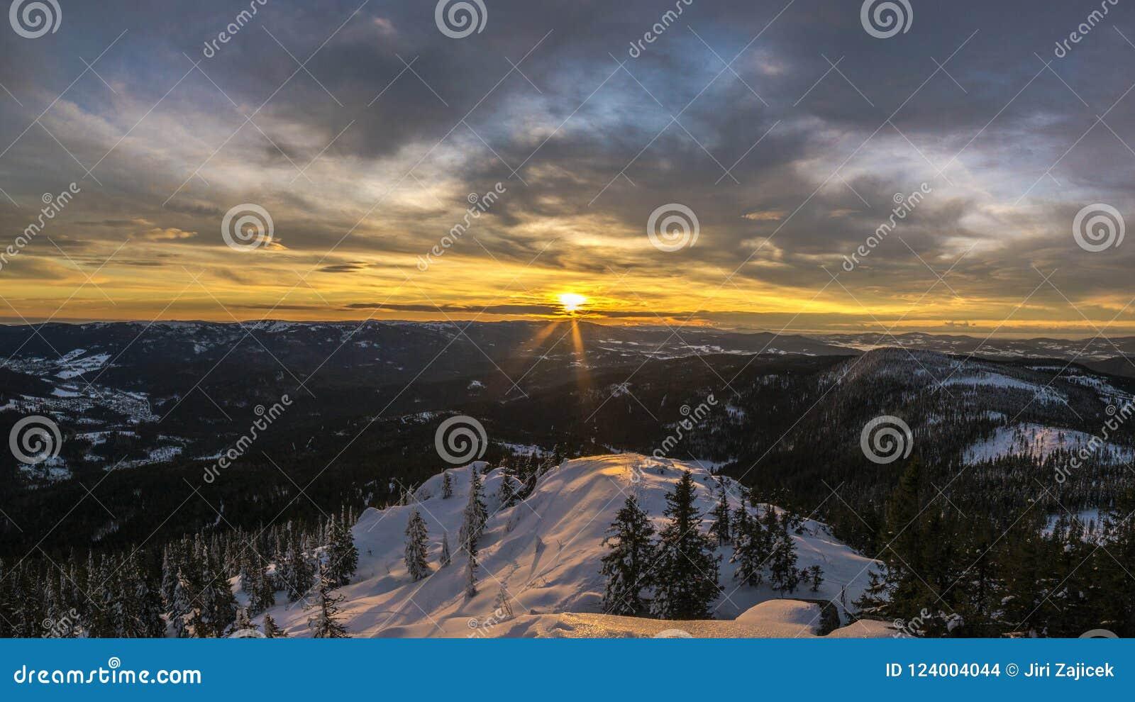 Sunrice in Großen Arber Velky Javor