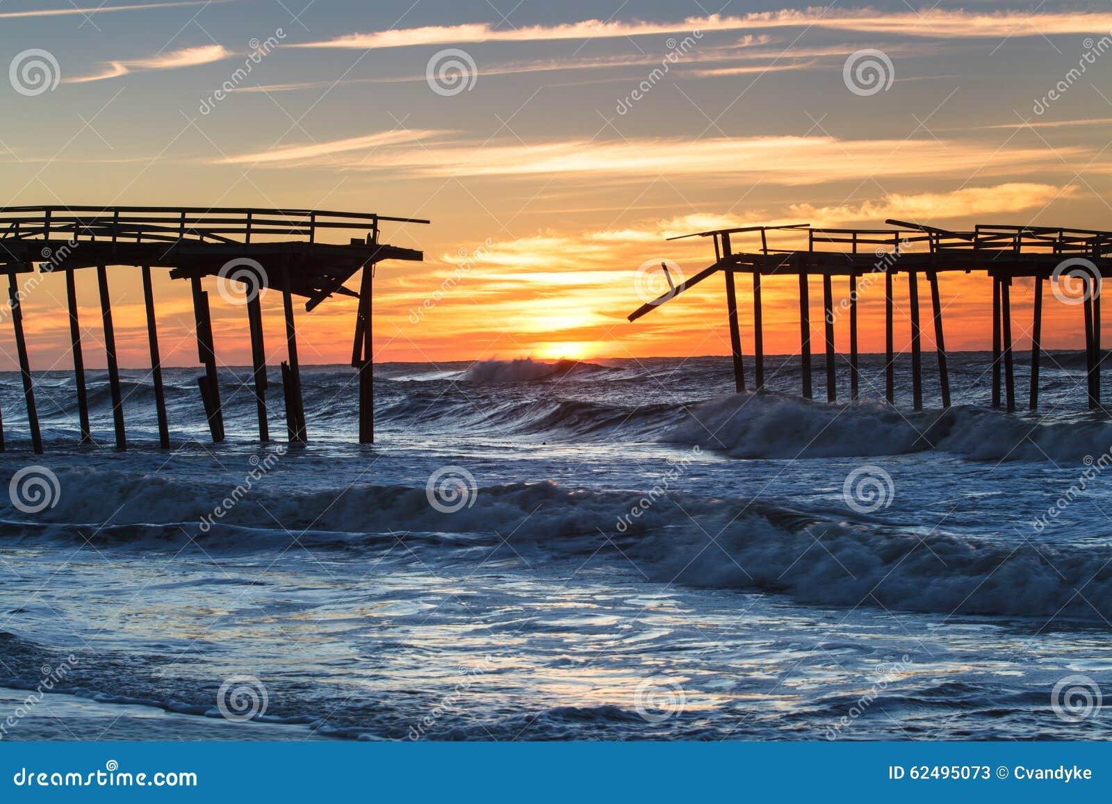 Sunrise Abandoned Fishing Pier North Carolina