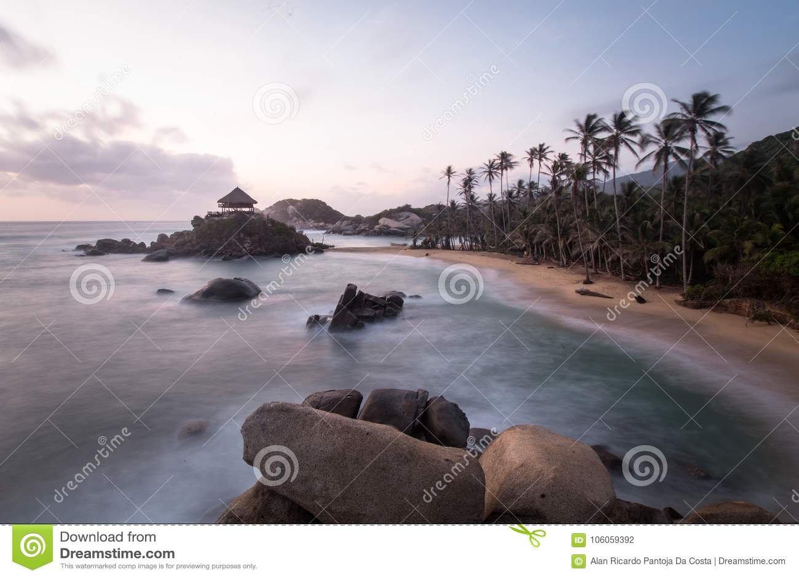 Sunrise in beach in Colombia, Caribe