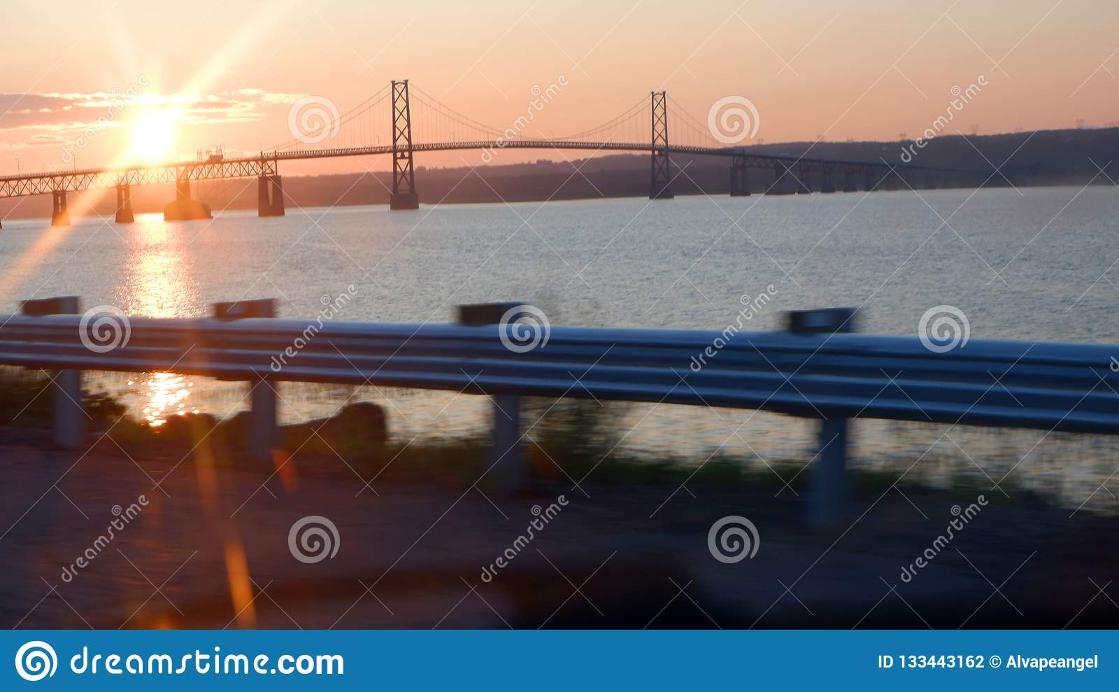 Sunrise on a bridge