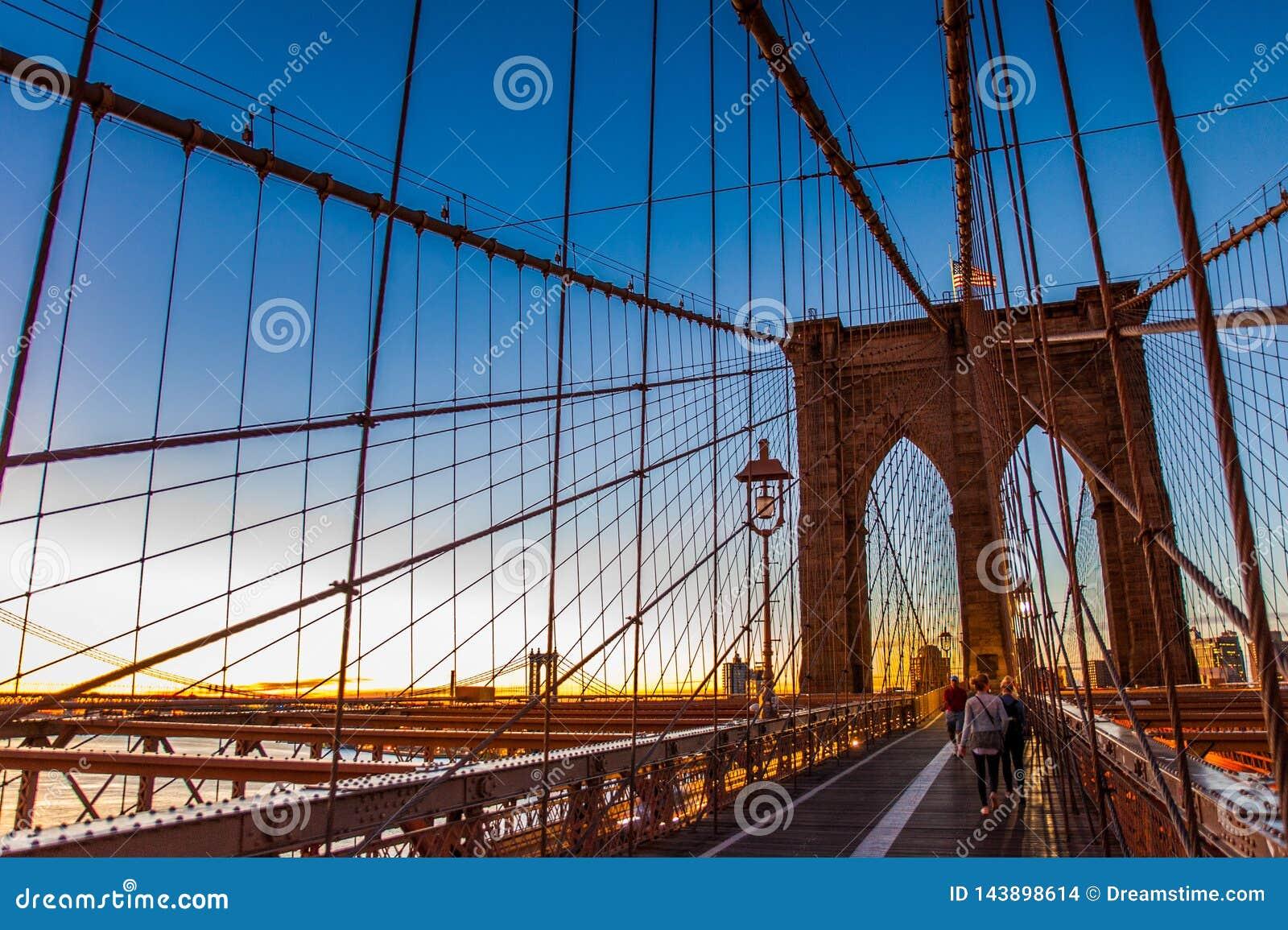 Sunrise on Brooklyn Bridge, Brooklyn, New York, 2016