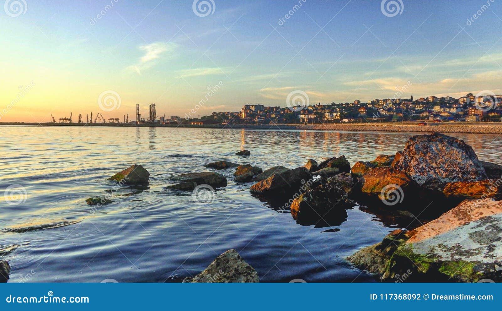Sunrise on the coast of the Caspian sea