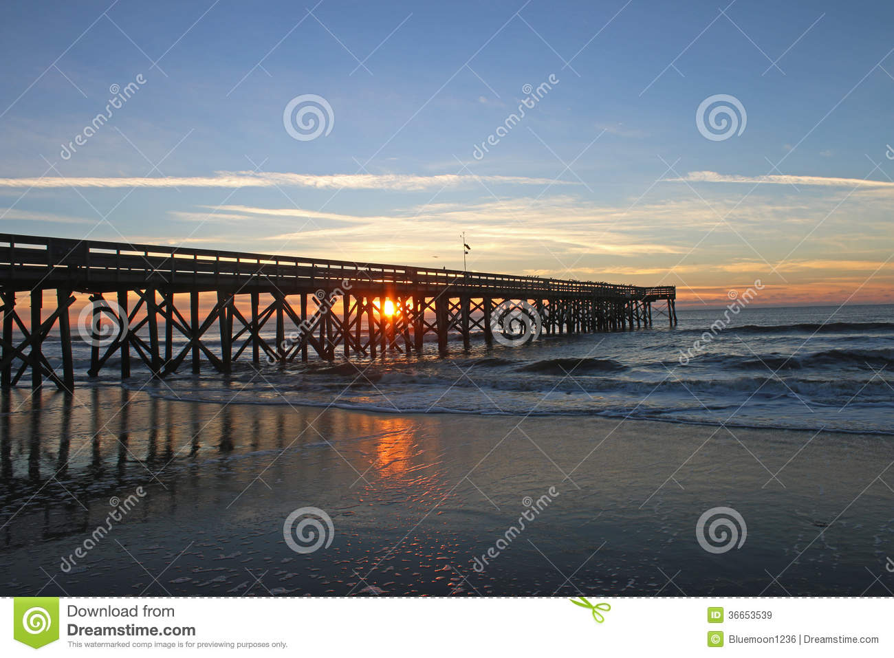 Sunrise through fishing pier at isle of palms sc royalty for Isle of palms fishing pier