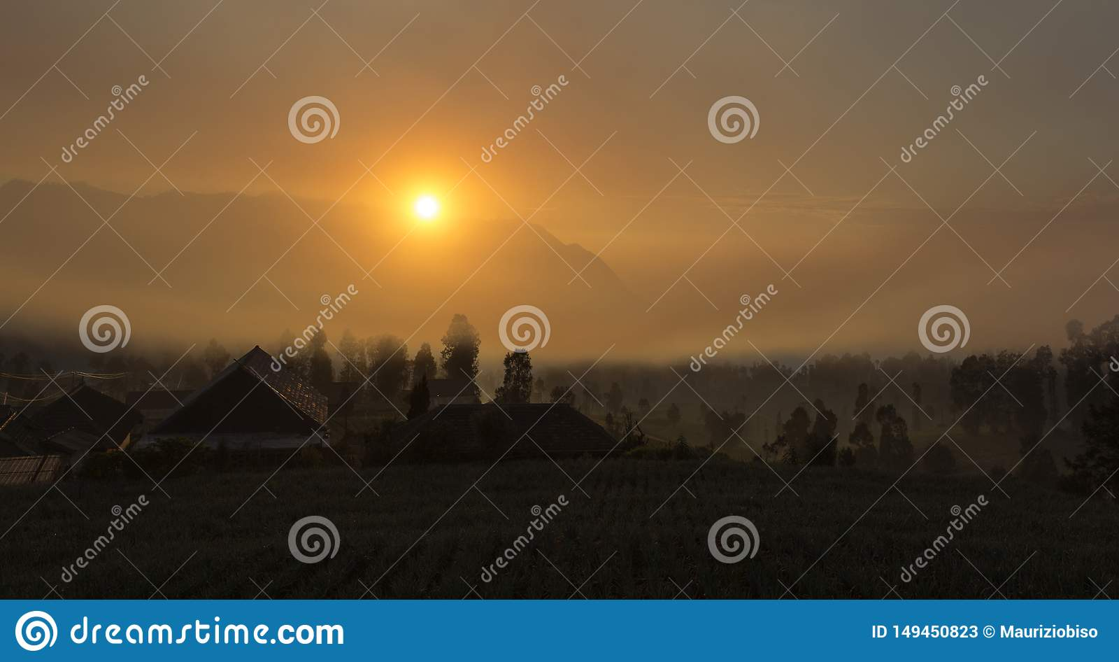 Sunrise with fog at Cemoro Lawang