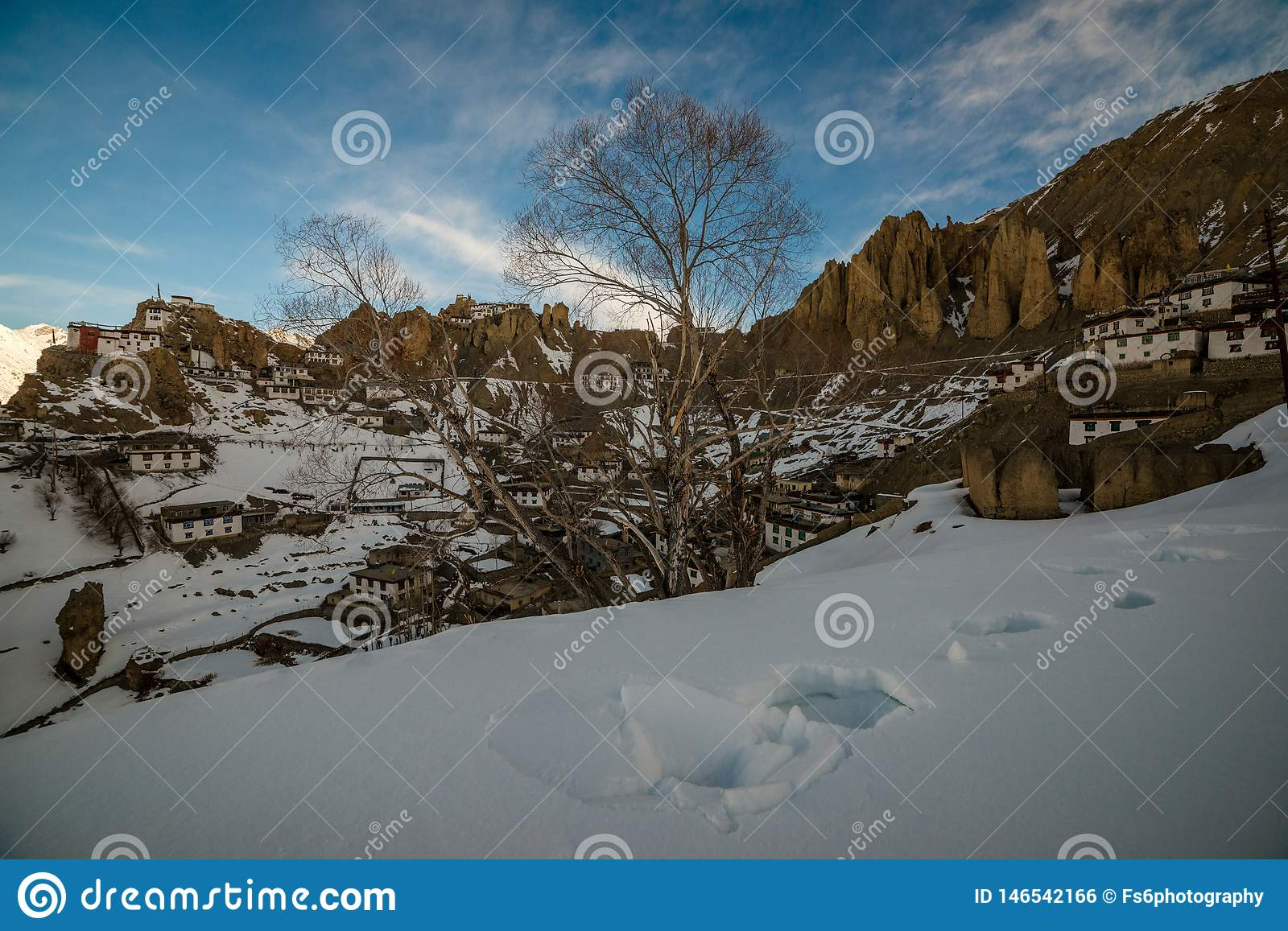 Sunrise in Himalayan Village in Mountain valley during sunrise. Natural Winter landscape