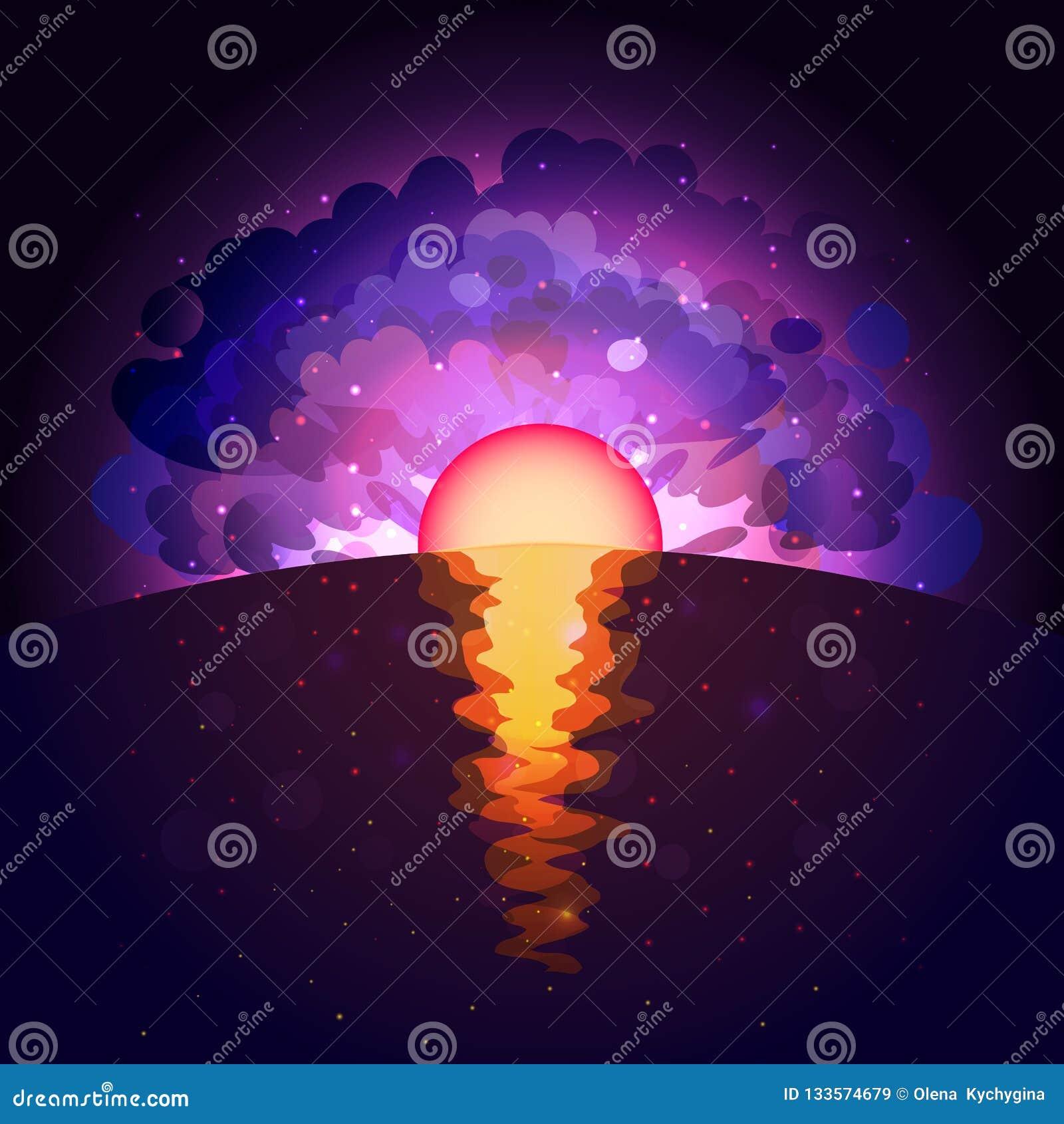 Sunrise on infinite space background. Sunset sea paper art style.