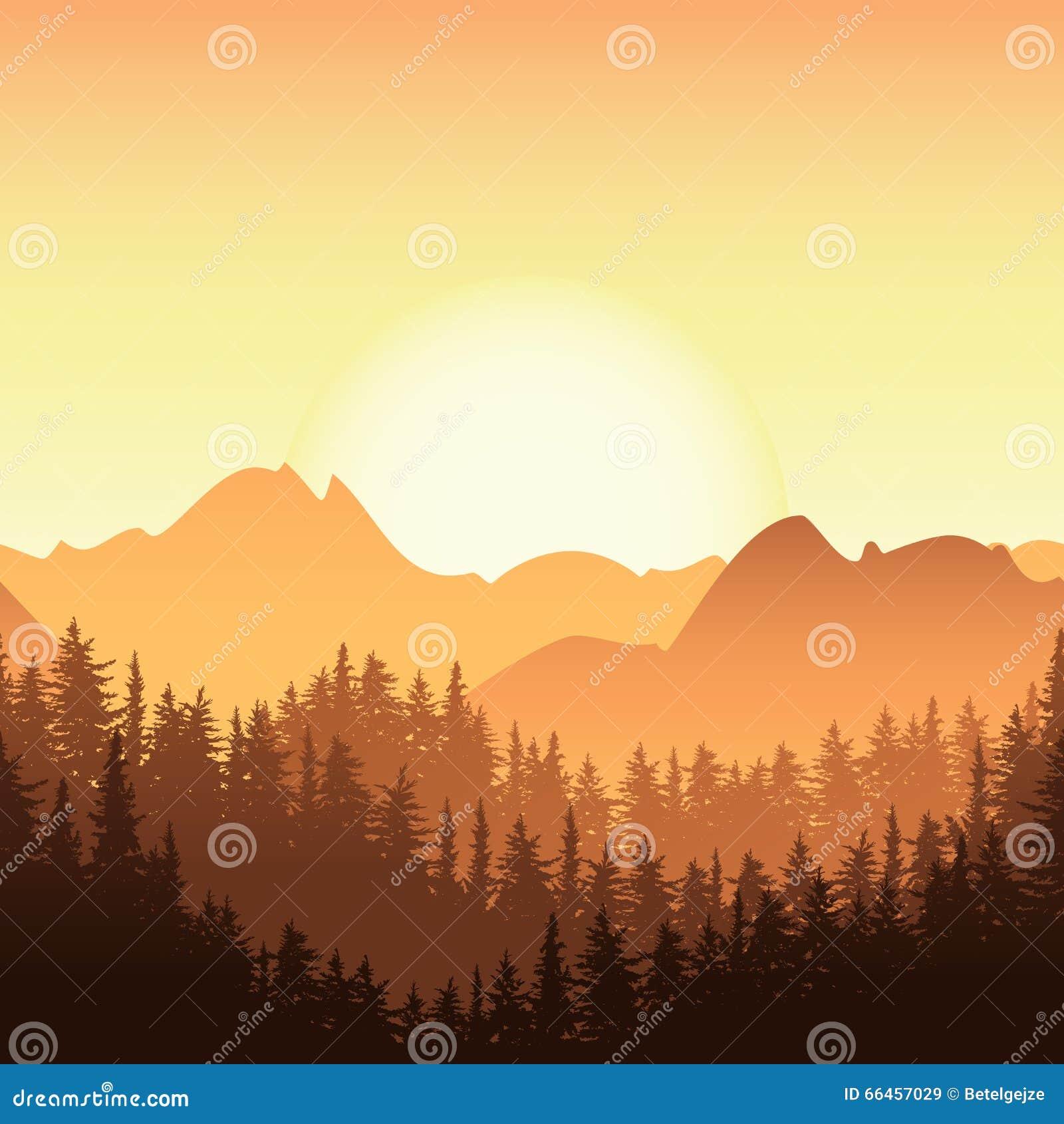 Landscape Illustration Vector Free: Vector Mountain Sunrise Landscape Royalty-Free Stock Photo