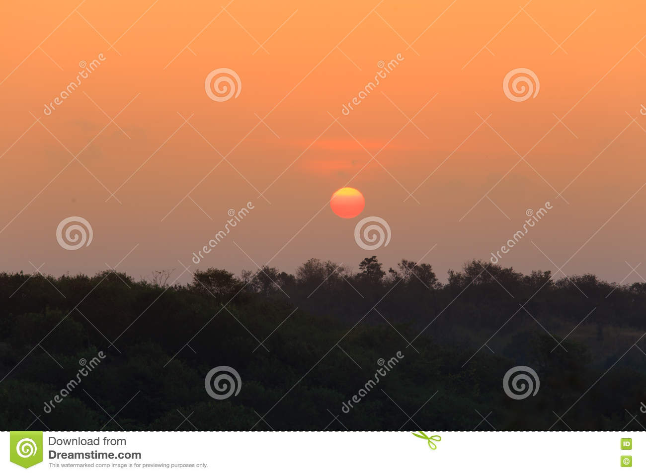 Sunrise over the distant hills