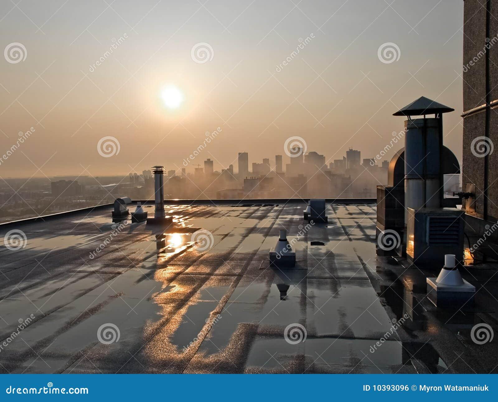Sunrise Over Hirise Rooftop