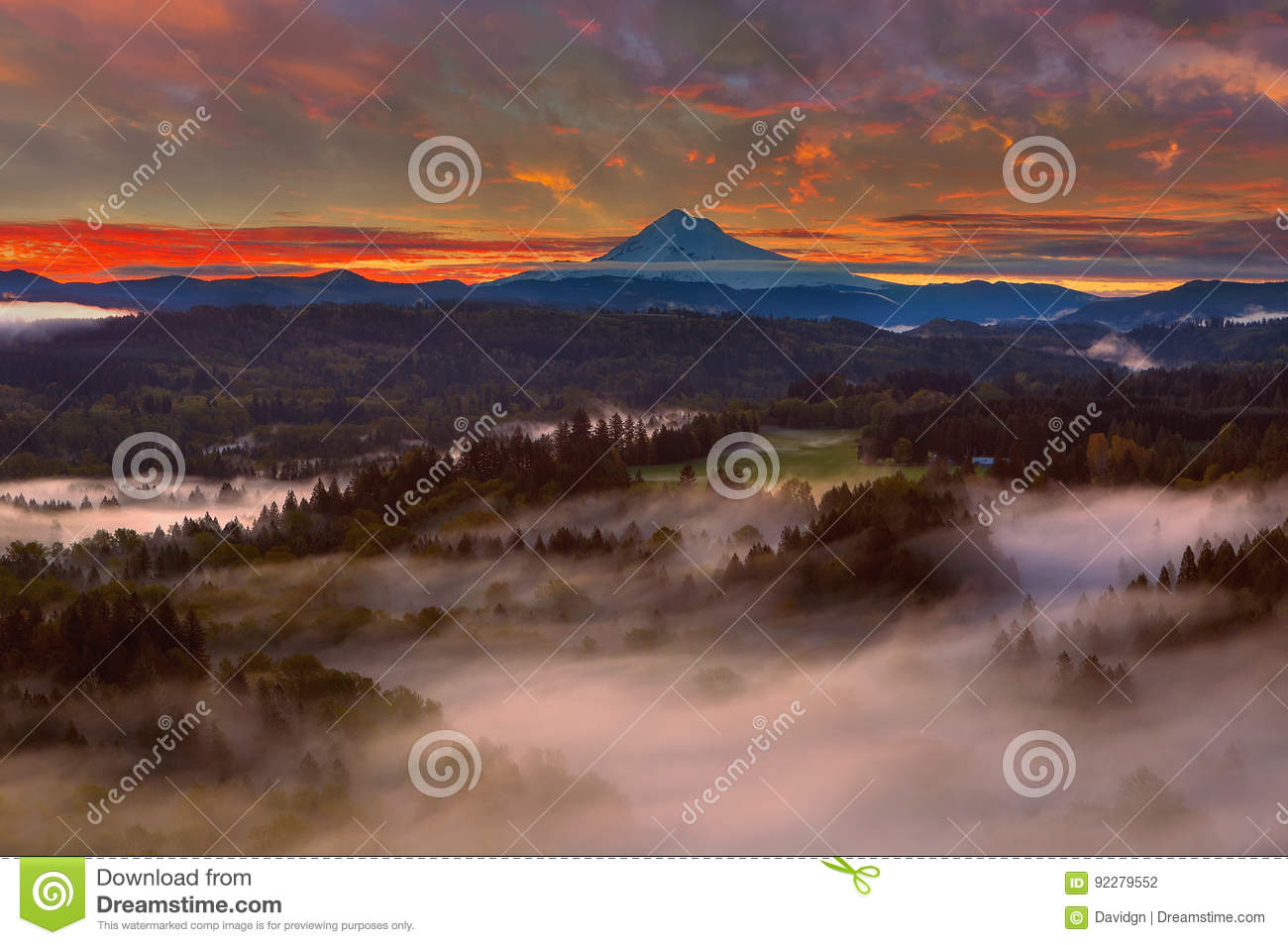 Sunrise over Mount Hood and Sandy River Valley