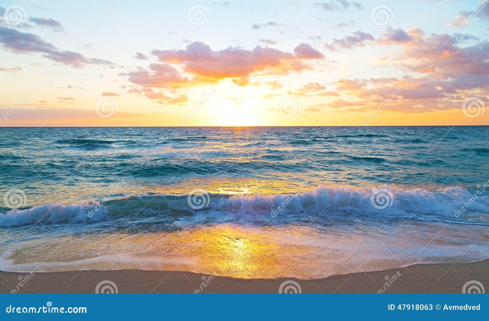 Sunrise Over The Ocean In Miami Beach Florida Stock