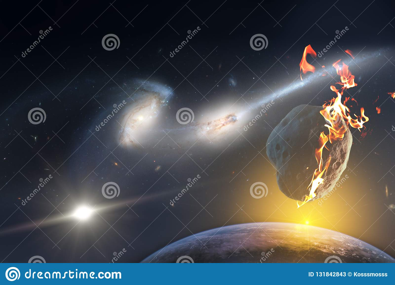 Sunrise over a planet doomed to death from the fall of a meteorite from the infinite space of the universe. Elements of this image