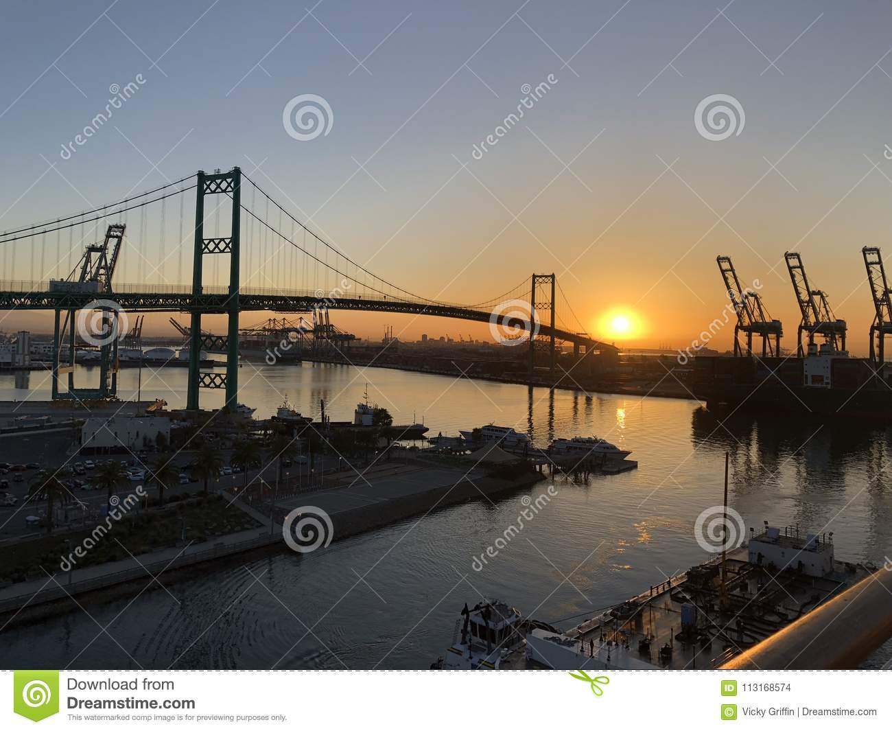 Sunrise over the Port of Los Angeles